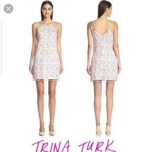 Trina Turk Patsy Tassel Trim Sheath Dress sz 8